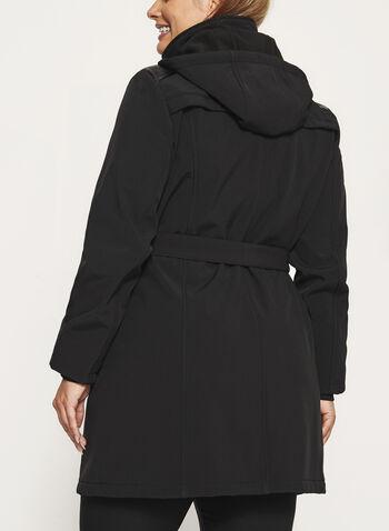 Manteau coupe-vent doublé polaire et capuchon amovible, Noir, hi-res