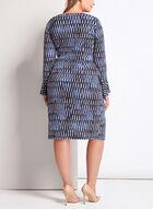 Robe cache-cœur à motif abstrait, Bleu, hi-res