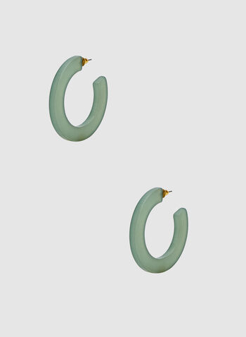 Hoop Earrings, Green, hi-res,  lucite, spring 2019, matte