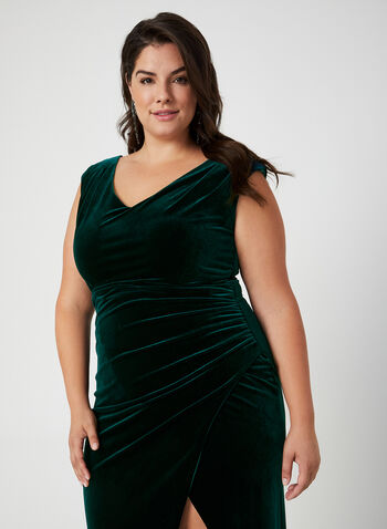V-Neck Velvet Gown, Green, hi-res,  dress, occasion dress, gown, velvet, V-neck, extended shoulder, slit, fall 2019, winter 2019