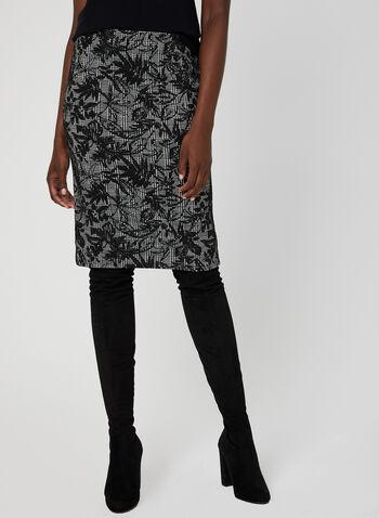 Jupe motif pied-de-poule et fleurs, Noir, hi-res