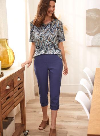 Capri avec liséré contrastant à l'ourlet, Bleu,  capri, pantalon, fait au canada, à enfiler, poches, liséré contrastant, longueur sous le genou, printemps été 2021