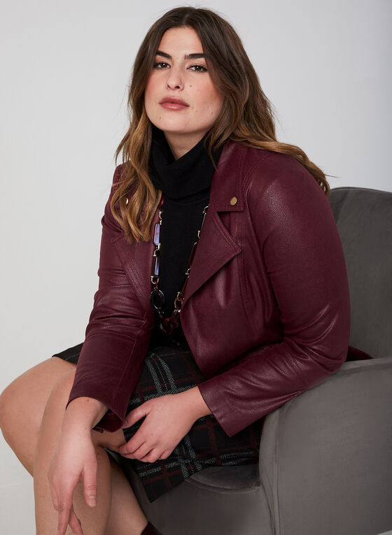 Faux Leather Jacket, Red