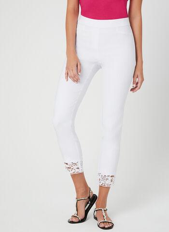 Pantalon à jambe étroite et ourlet en dentelle crochet, Blanc, hi-res