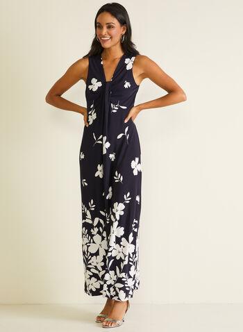 Robe maxi fleurie à détail torsadé, Bleu,  robe de jour, maxi, fleurs, sans manches, printemps été 2020