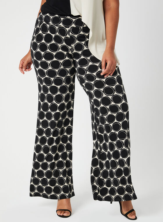 Joseph Ribkoff - Dot Print Wide Leg Pants, Black, hi-res