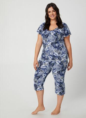 Hamilton - Pyjama 2 pièces motif fleurs, Bleu,  pyjama, haut, fleurs, chaîne, col ajouré, capri, automne hiver 2019