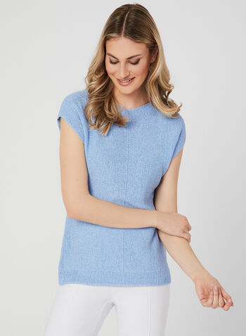 Drop Shoulder Knit Top, Blue, hi-res
