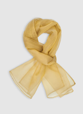 Organza Wrap, Gold,  Canada, organza, scarf, wrap, lightweight, fall 2019, winter 2019