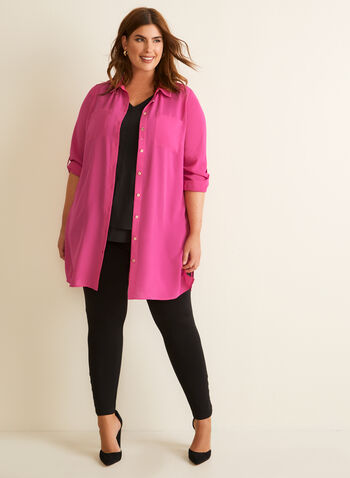 Long Sleeve Crepe Tunic Top, Purple,  top, tunic, shirt collar, long sleeves, crepe, patch pockets, Spring 2020