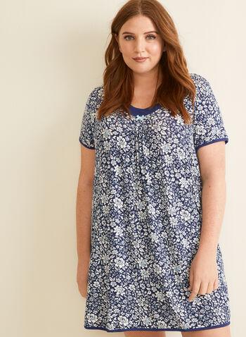René Rofé - Chemise de nuit fleurie, Bleu,  pyjama, chemise de nuit, fleur, nœud, manches courtes, printemps été 2020