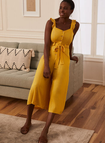 Button Detail Jumpsuit, Gold,  jumpsuit, day, sleeveless, sweetheart, button front, sash, belt, tie, pockets, fit flare, spring summer 2021