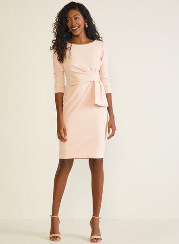 Robe fourreau à détail nœud, Rose,  robe cocktail, manches 3/4, noeud, fourreau, automne hiver 2020