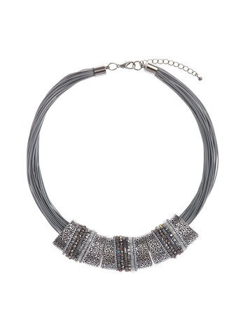 Textured Metallic Necklace, Grey, hi-res
