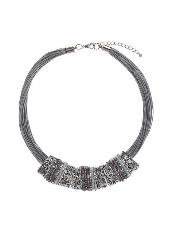 Textured Metallic Necklace, Grey, hi-res