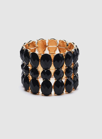 Oval Crystal Stretch Bracelet, Black, hi-res