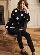 Dotted Print Fooler Sweater, Black