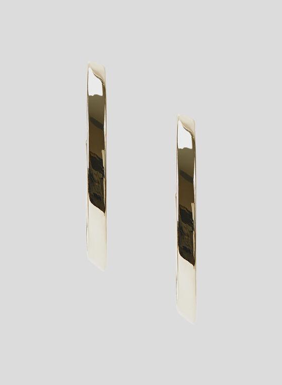 Oval Hoop Earrings, Gold, hi-res