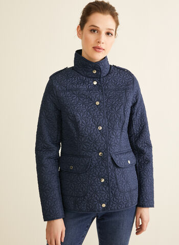 Novelti - Daisy Quilted Coat, Blue,  spring summer 2020, quilted coat, flap pcokets