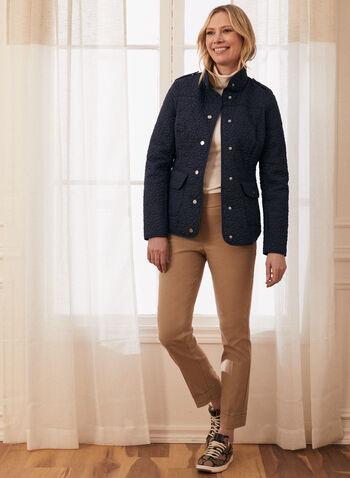 Novelti - Manteau matelassé aspect floral, Bleu,  manteau, matelassé, fleurs, col montant, boutons-pression, poches, printemps été 2020