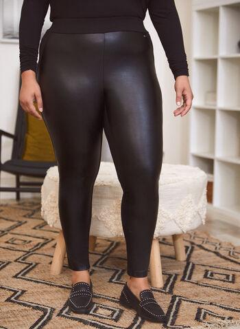 Legging bi-matière en faux cuir, Noir,  automne hiver 2020, legging, pantalon, jambe étroite, pull-on, taille élastique, à enfiler