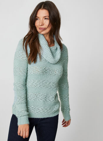 Cowl Neck Sweater, Blue,  fall winter 2019, long sleeves, cowl neck, knit