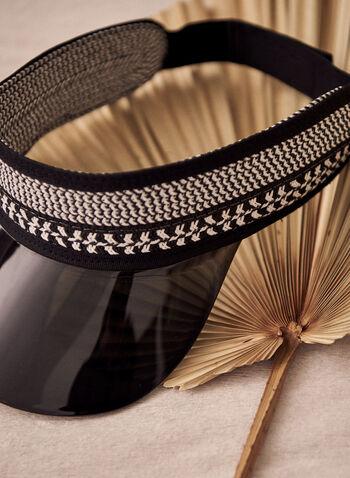 Visière transparente en paille tressée, Noir,  accessoires, visière, acrylique translucide, ajustable, paille tressée, casquette, printemps été 2021