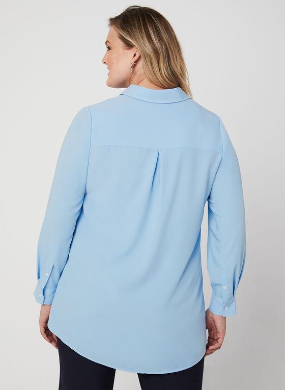 Chemisier long à coutures contrastantes, Bleu, hi-res