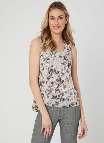 Floral Print Sleeveless Blouse, Multi, hi-res,