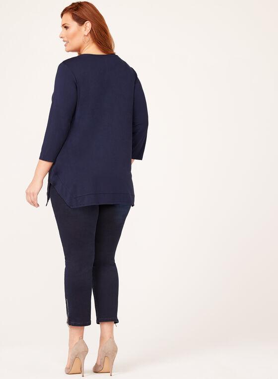 Tunique jersey à manches ¾, Bleu, hi-res