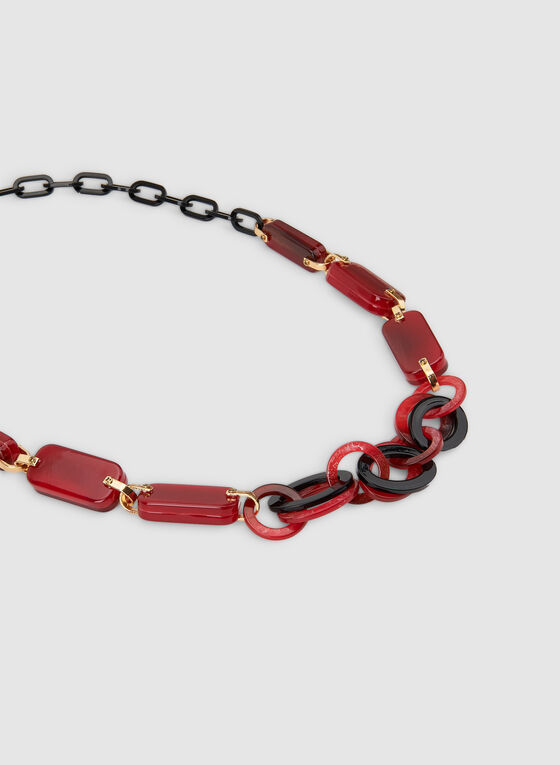 Long Geometric Necklace, Red