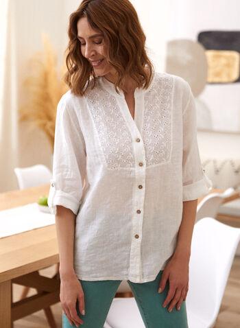 Charlie B - Linen Eyelet Detail Shirt, White,  spring summmer 2021, Charlie B, split neck, 3/4 sleeve, button tabs, button front, shirt, top, blouse, pointelle, eyelet detail, linen