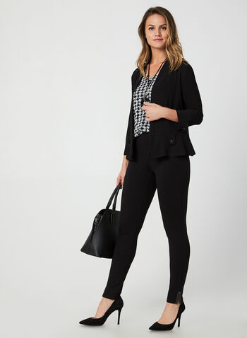 3/4 Sleeve Open Front Top, Black, hi-res,  fall winter 2019, crepe, button details, 3/4 sleeves