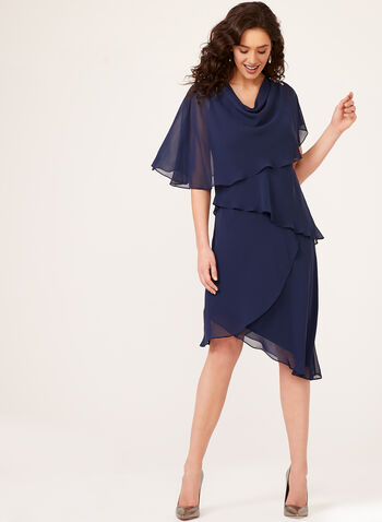 Asymmetric Chiffon Poncho Dress Set, Blue, hi-res
