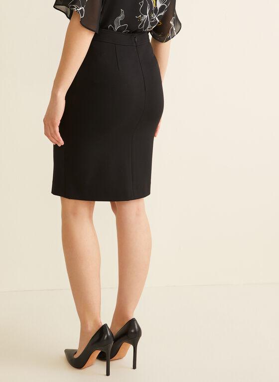 Button Detail Pencil Skirt, Black