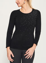 Crystal Embellished Long Sleeve Sweater, Black, hi-res