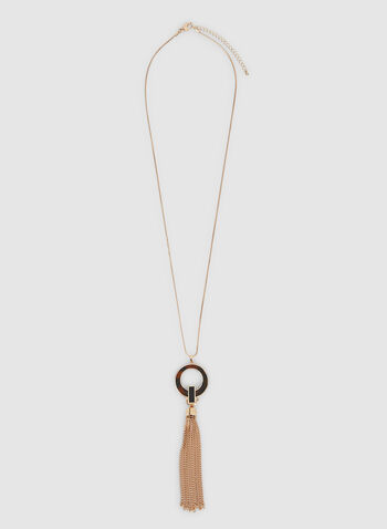 Chain Tassel Necklace, Brown, hi-res,  chain, ring, pendant, necklace, tassels, fall 2019, winter 2019