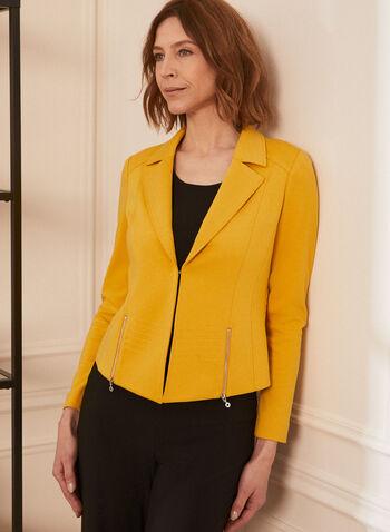 Topstitch Blazer, Yellow,  blazer, notch collar, long sleeves, topstitching, ponte de roma, shoulder pads, spring summer 2020