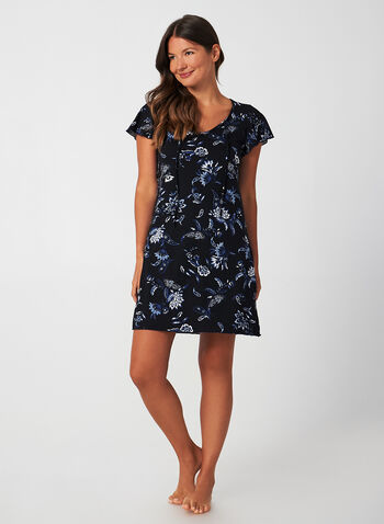 Hamilton - Tie Front Nightgown, Blue,  Canada, Hamilton, nightgown, sleepwear, short sleeves, flutter sleeves, fall 2019, winter 2019