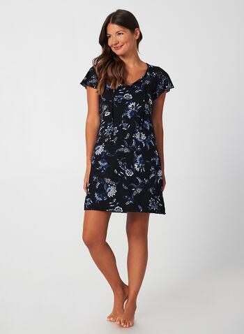 Hamilton - Tie Front Nightgown, Blue, hi-res,  Canada, Hamilton, nightgown, sleepwear, short sleeves, flutter sleeves, fall 2019, winter 2019