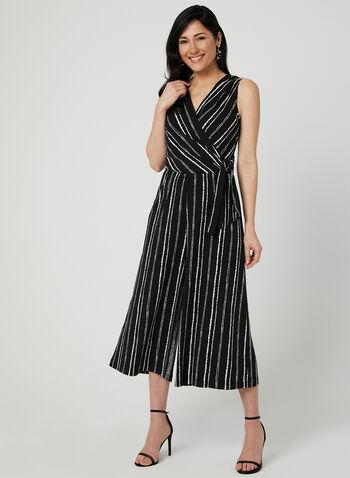 Stripe Print Wide Leg Jumpsuit, Black, hi-res