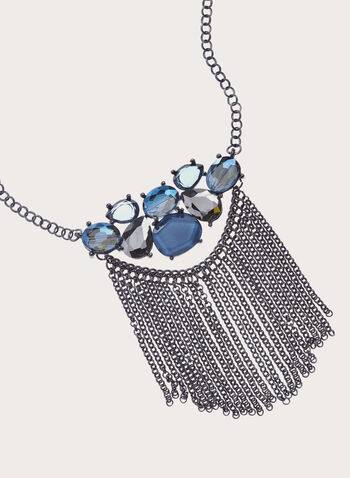 Stone Cluster  Tassel Necklace , Blue, hi-res