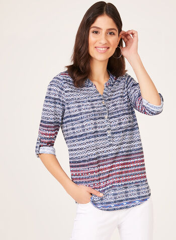 Aztec Burnout Print Henley Shirt, Blue, hi-res