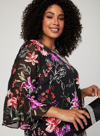 Floral Print Bell Sleeve Dress, Black, hi-res