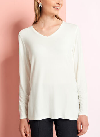 Long Sleeve V-Neck Top, Off White, hi-res