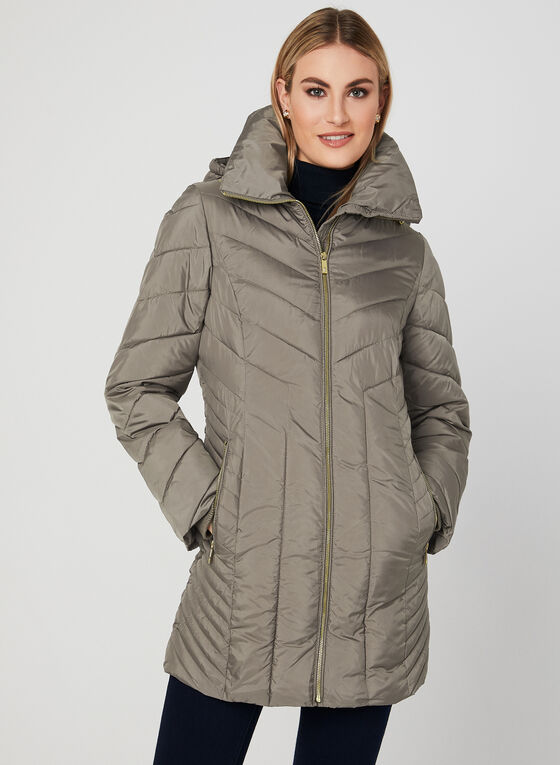 Anne Klein - Quilted Coat, Brown, hi-res