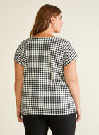 Gingham Print Short Sleeve Top, Black