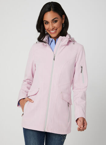 Water Resistant Raincoat, Pink, hi-res,  wind resistant, removable hood, spring 2019, breathtex