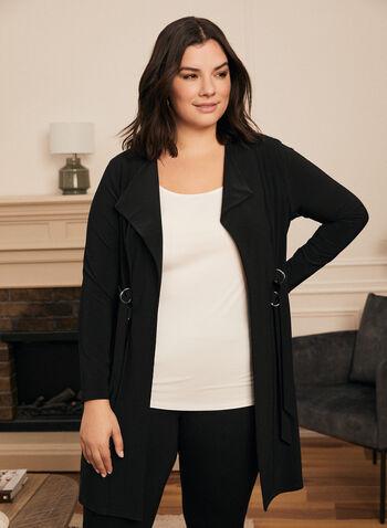 Haut avec double boucle à la taille, Noir,  haut, boucle, manches longues, jersey, automne hiver 2020