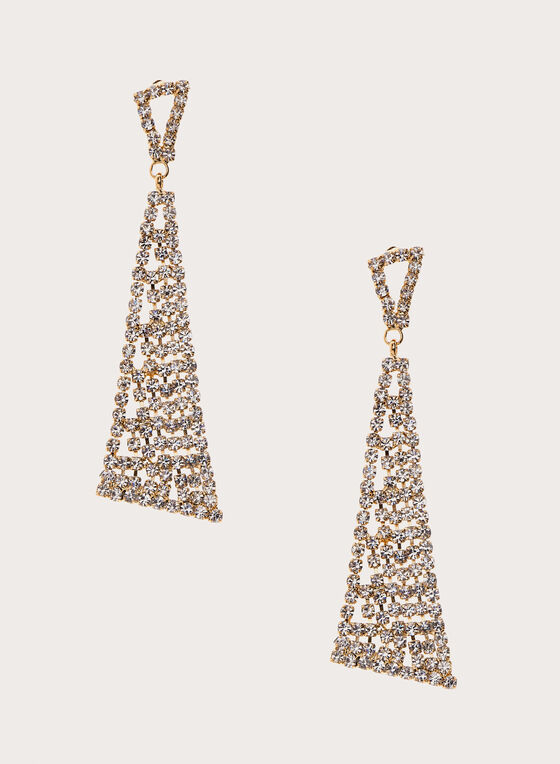 Geometric Crystal Pavé Drop Earrings, Gold, hi-res